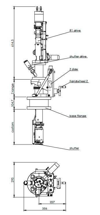 Henniker Scientific 2-axes Sputtering Manipulator Dims
